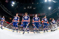 EDMONTON, CANADA - JANUARY 20: The starting line-up for the Edmonton Oilers stands for the national anthems before a game against the Dallas Stars at Rexall Place on January 20, 2011 in Edmonton, Alberta, Canada.  (Photo by Andy Devlin/NHLI via Getty Images) *** LOCAL CAPTION ***
