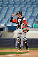 Austin Biggar (32) of Parkview High School in Canton, Georgia playing for the Baltimore Orioles scout team during the East Coast Pro Showcase on July 28, 2015 at George M. Steinbrenner Field in Tampa, Florida.  (Mike Janes/Four Seam Images)
