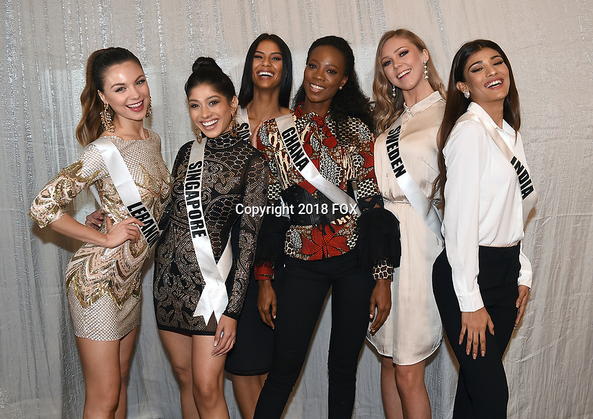 BANGKOK, THAILAND - DECEMBER 15: 2018 MISS UNIVERSE: L-R: Miss Lebanon Maya Reaidy, Miss Singapore Zahra Khanum, Miss South Africa Tamaryn Green, Miss Ghana Akpene Diata Hoggar, Miss Sweden Emma Strandberg and Miss India Nehal Chudasama during rehearsals for the 2018 MISS UNIVERSE competition at the Impact Arena in Bangkok, Thailand on December 15, 2018. Miss Universe will air live on Sunday, Dec. 16 (7:00-10:00 PM ET live/PT tape-delayed) on FOX.  (Photo by Frank Micelotta/FOX/PictureGroup)