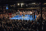 Chris Detrick  |  The Salt Lake Tribune<br /> Mitt Romney and Evander Holyfield box at the Rail Event Center Friday May 15, 2015.  Holyfield won after Romney threw in the towel after two rounds. Friday's Romney-Holyfield showdown raised over $1 million for CharityVision, a 20-year-old nonprofit dedicated to saving the eyesight of impoverished people in developing nations.