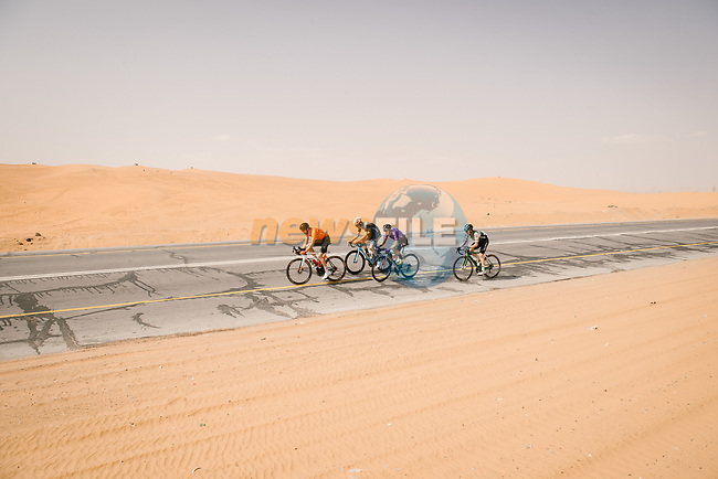 The breakaway during Stage 5 of the Saudi Tour 2020 running 144km from Princess Nourah University to Al Masmak, Saudi Arabia. 8th February 2020. <br /> Picture: ASO/Pauline Ballet | Cyclefile<br /> All photos usage must carry mandatory copyright credit (© Cyclefile | ASO/Pauline Ballet)