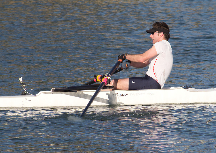 La Conner, Swinomish Channel, open water race, Sound Rowers Open Water Rowing and Paddling Club, Washington State, Pacific Northwest,  USA, Tyler Petersen in a 1x-OWII, Bay 21,