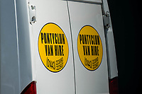 Monday 19 June 2017<br /> Pictured: One of the vans at the entrance  to the Pontyclun hire firm <br /> Re: The van which was driven by Darren Osborne into worshippers near a north London mosque was hired by a firm in south Wales. One man has died and 10 people have been injured after a van mounted a pavement near Finsbury Park Mosque.Forensics officers are examining a white van which has Pontyclun Van Hire on it.
