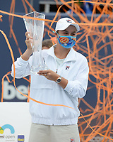 MIAMI GARDENS, FL - APRIL 03: Ashleigh Barty poses with the championship trophy after the Women's finals at the 2021Miami Open at Hard Rock Stadium, Ashleigh Barty defeats Bianca Andreescu 6-3, 4-0 ret on April 3, 2021 in Miami Gardens, Florida. Credit: mpi04/MediaPunch