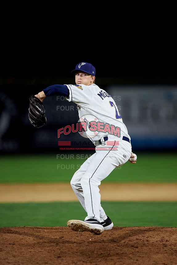 Tri-City Dust Devils relief pitcher Deacon Medders (24) delivers a pitch during a Northwest League game against the Vancouver Canadians at Gesa Stadium on August 21, 2019 in Pasco, Washington. Vancouver defeated Tri-City 1-0. (Zachary Lucy/Four Seam Images)