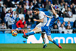 Daniel Carvajal Ramos (L) of Real Madrid battles for the ball with Luis Carlos Correia Pinto, Luisinho, of RC Deportivo La Coruna during the La Liga 2017-18 match between Real Madrid and RC Deportivo La Coruna at Santiago Bernabeu Stadium on January 21 2018 in Madrid, Spain. Photo by Diego Gonzalez / Power Sport Images