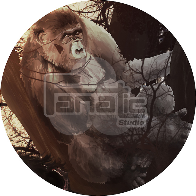Illustration of chimpanzee in forest against white background