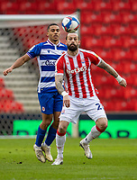 6th February 2021; Bet365 Stadium, Stoke, Staffordshire, England; English Football League Championship Football, Stoke City versus Reading; Steven Fletcher of Stoke City has his eye on the ball
