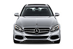 Car photography straight front view of a 2018 Mercedes Benz C-Class Sedan C350e Plug-in Hybrid 4 Door Sedan