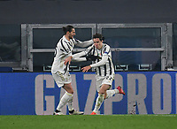Football Soccer: UEFA Champions League -Round of 16 2nd leg Juventus vs FC Porto, Allianz Stadium. Turin, Italy, March 9, 2021.<br /> Juventus' Federico Chiesa (R) celebrates after scoring his second goal in the match with his teammate Adrien Rabiot (L) during the Uefa Champions League football soccer match between Juventus and Porto at Allianz Stadium in Turin, on March 9, 2021.<br /> UPDATE IMAGES PRESS/Isabella Bonotto