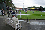 Pollok 2 Neilston Juniors 1, 13/08/2008. Newlandsfield, Sectional League Cup. Spectators watching Pollok (black-and-white) taking on local rivals Neilston Juniors in a Sectional League Cup (Central) Section 5 tie at Newlandsfield on Glasgow's south side. The home side won the game by 2-1 in front of 302 fans. Junior football was divided into East, West and North sections and played throughout Scotland. It had its own governing body, the SJFA and regional pyramid structure and national cup competition. Photo by Colin McPherson.