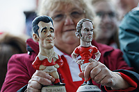 A rugby supporter holds groggs of Rob Howley and Alun Wyn Jones during the Celebration for Wales Six Nations Win at the National Assembly for Wales, Cardiff Bay, Wales, UK. Monday 18 March 2019