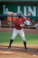 Robby Rinn (49) of the Idaho Falls Chukars bats against the Ogden Raptors at Lindquist Field on August 28, 2017 in Ogden, Utah. Ogden defeated Idaho Falls 7-1. (Stephen Smith/Four Seam Images)