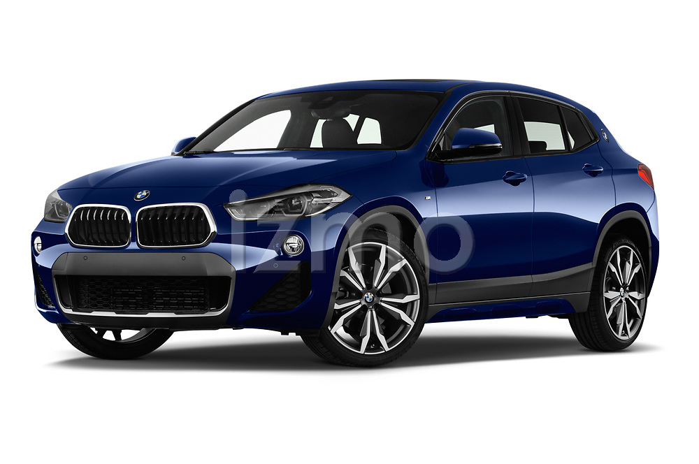 Stock pictures of low aggressive front three quarter view of a 2018 BMW X2 M Sport X 5 Door SUV