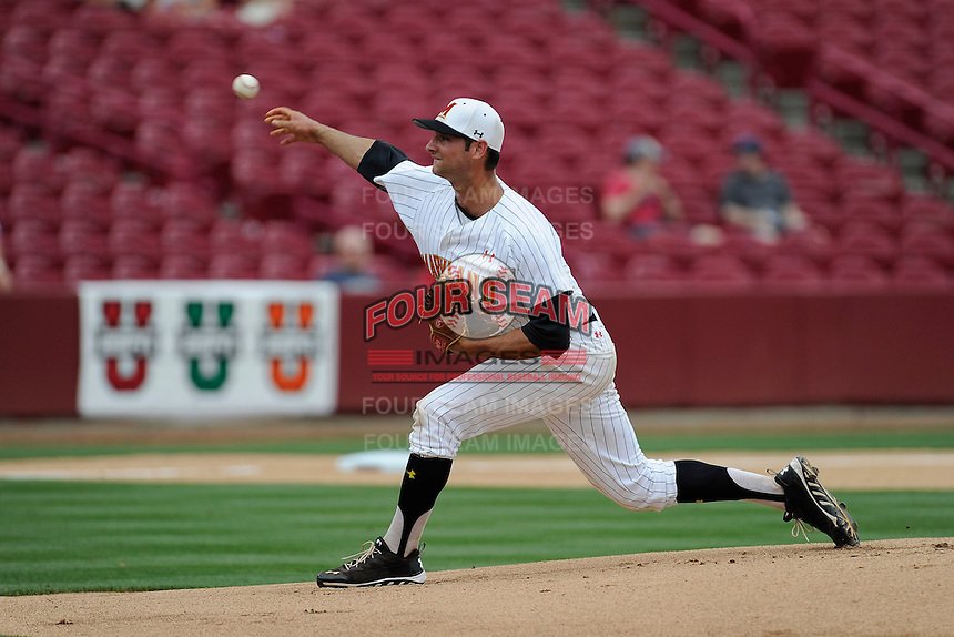 Starting pitcher Jake Stinnett (7) of the Maryland Terrapins in an NCAA Division I Baseball Regional Tournament game against the Old Dominion Monarchs on Friday, May 30, 2014, at Carolina Stadium in Columbia, South Carolina. Maryland won, 4-3. (Tom Priddy/Four Seam Images)