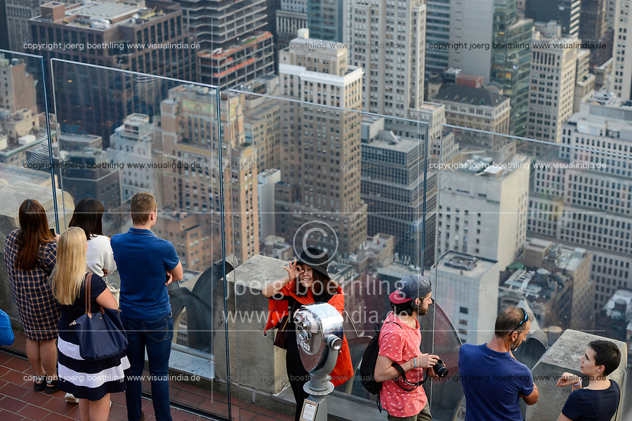 USA, New York City, Manhattan Skyline, view from observing deck of Rockefeller Center, top of the rock
