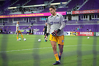 ORLANDO, FL - SEPTEMBER 11: Michelle Betos #1 of Racing Louisville FC warming up before a game between Racing Louisville FC and Orlando Pride at Exploria Stadium on September 11, 2021 in Orlando, Florida.