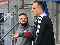 Head coach Tiziano Rutilo of Woluwe and head coach Stephane Guidi of Standard pictured before a female soccer game between Standard Femina de Liege and White Star Woluwe on the fifth matchday of the 2021 - 2022 season of Belgian Scooore Womens Super League , saturday 2 nd of October 2021  in Angleur , Belgium . PHOTO SPORTPIX   SEVIL OKTEM