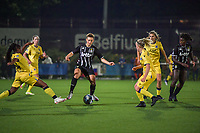Kristina Erman (4) of Sporting du Pays de Charleroi pictured during a female soccer game between Sporting Charleroi and Club Brugge YLA on the sixth matchday in the 2021 - 2022 season of Belgian Scooore Womens Super League , friday 8 October 2021 in Marcinelle , Belgium . PHOTO SPORTPIX   STIJN AUDOOREN