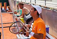Austria, Kitzbuhel, Juli 15, 2015, Tennis, Davis Cup, Training Dutch team, Haase and Rojer (R)<br /> Photo: Tennisimages/Henk Koster