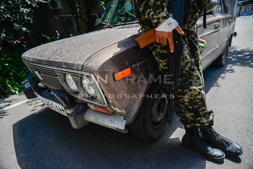 Member of Russian Orthodox Army seen at one of the military base in Donetsk.