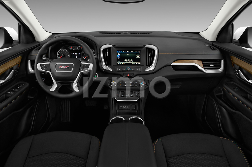 Stock photo of straight dashboard view of a 2018 GMC Terrain SLE FWD 5 Door SUV