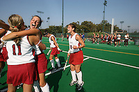 6 November 2007: Stanford Cardinal Jennifer Luther (11), Rachel Mozenter (second from left), and Hillary Braun (8) during Stanford's 1-0 win against the Lock Haven Lady Eagles in an NCAA play-in game to advance to the NCAA tournament at the Varsity Field Hockey Turf in Stanford, CA.