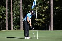 CHAPEL HILL, NC - OCTOBER 11: Nicole Lu of the University of North Carolina sinks a putt at UNC Finley Golf Course on October 11, 2019 in Chapel Hill, North Carolina.