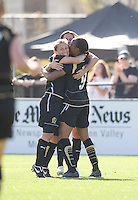 Tifffeny Mibrett, left, is congratulated after scoring the winning goal. FC Gold Pride defeated the Boston Breakers 2-1 at Buck Shaw Stadium in Santa Clara, California on April 5th, 2009.