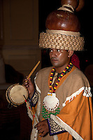 Mayan in Traditional Pre-Hispanic Costume Playing Traditional Drum,  Playa del Carmen, Riviera Maya, Yucatan, Mexico.
