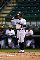 Bradenton Marauders Sammy Siani (25) bats during a game against the Palm Beach Cardinals on May 30, 2021 at LECOM Park in Bradenton, Florida.  (Mike Janes/Four Seam Images)