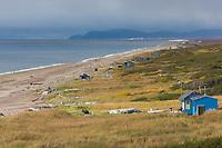 Fish camps along the coast of Norton Sound, Bering Sea, along Alaska's western arctic coast near Nome.