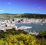 New Zealand, North Island, Wellington: Harbour and City View from Mount Victoria | Neuseeland, Nordinsel, Wellington: Blick ueber die Stadt und den Hafen vom Mount Victoria