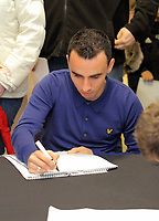 Pictured: Leon Britton signing copies of the new Swansea City FC calendar at the Liberty Stadium, Swansea south Wales. Thursday 02 december 2011<br /> Re: