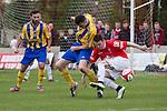© Joel Goodman - 07973 332324 . 25/04/2015 . Salford , UK . Salford's Matt Chadwick winning the ball . Evostick League champions , Salford FC , play Osset Town , in Salford . Photo credit : Joel Goodman