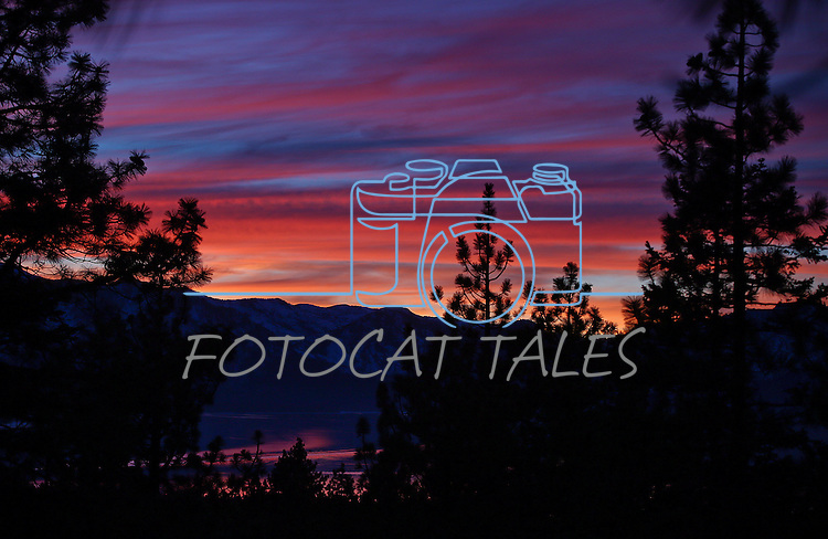 Sunset over Lake Tahoe seen from Stateline, Nev., in December 2013. <br /> Photo by Cathleen Allison