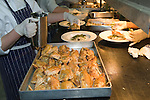 Outside catering staff work in marque for large private function. Hampshire UK 2008.