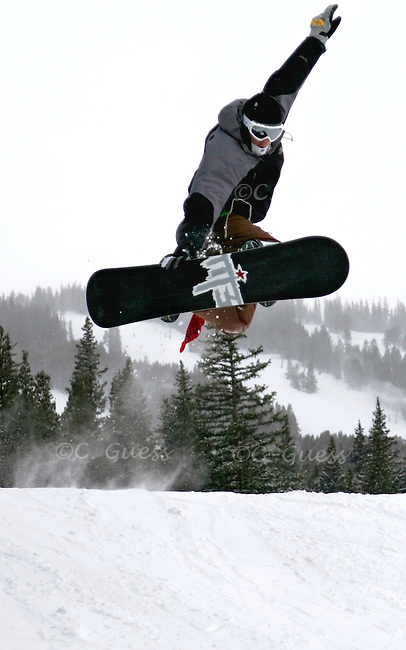 Dean Harden, a student at the University of Wisconsin-Madison, performs a backside grab on the slopes of Breckenridge, Colorado over his winter break from college.