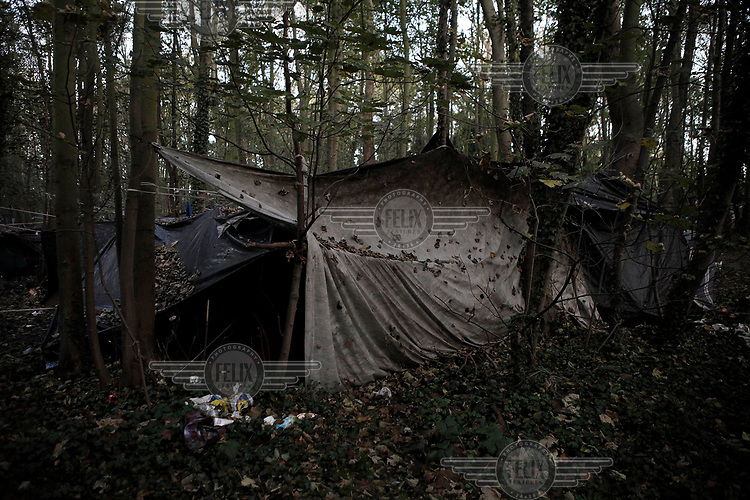 The home of migrants and refugees from Afghanistan in the camp known as 'The Jungle'.