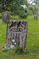 UK, England, Yorkshire.  Remnant of a Tombstone, St. Anthony's Church, Grinton Village.