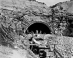 Hopedale OH:  Construction work at the west end of the Warren Tunnel. The Pittsburgh, Toledo, and Western Railroad Company, owned by the famous George J. Gould,  hired Brady Stewart to document the track and tunnel construction between Hopedale Ohio, and downtown Pittsburgh.