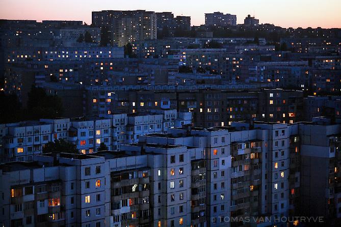 Soviet era residential apartment buildings seen in Chisinau, Moldova on 26 May 2009.