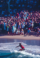 Coke Classic runner up Batron Lynch (AUS) surfing during the 1988 Coke Classic at Manly Beach, Sydney, Australia. Damien hardman (AUS) won the event and also the 1987/88 World Surfing Title by defeating Lynch in the final. Lynch had led the World Title race going into the event but need to win to seal the title.  Photo. joliphotos
