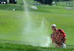 1 September 2008: Ben Curtis hits a bunker shot at the Deutsche Bank Golf Championship in Norton, Massachusetts.