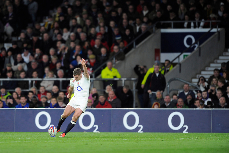 George Ford of England takes a conversion attempt