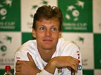 02-02-14,Czech Republic, Ostrava, Cez Arena, Davis Cup Czech Republic vs Netherlands, Press-conference with Tomas Berdych (CZE)<br /> Photo: Henk Koster