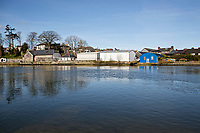 Pictured: River Teifi and the slipway (next to the blue building where the Mini car with Kiara Moore entered river Teifi from in Cardigan, west Wales, UK. Tuesday 20 March 2018<br /> Re: The funeral of two year old Kiara Moore, who died after being recovered from a silver Mini car found in river Teifi in Cardigan will be held today (Tue 27 Mar 2018) at Parc Gwyn Crematorium, Narberth, west Wales.<br /> Kiara was taken at the University Hospital of Wales in Cardiff after being rescued but was pronounced dead.<br /> It is believed the car she was in, rolled down a slipway while her mother got out momentarily to get cash out of the family business premises.<br /> Her parents Jet Moore and Kim Rowlands have expressed their grief on social media.