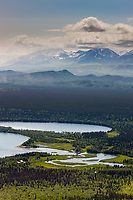 Overview of Brooks River and the lower platform bear viewing area, view from Dumpling mountain, Katmai National Park, southwest, Alaska.