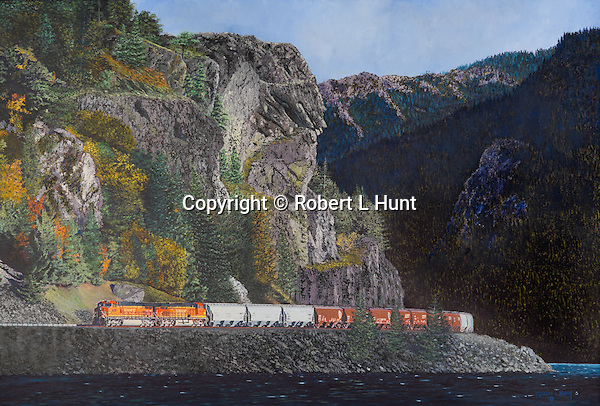 """BNSF freight train moving along a river in Washington State, oil on canvas, 21"""" x 30""""."""