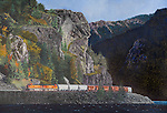 "BNSF freight train moving along a river in Washington State, oil on canvas, 21"" x 30""."